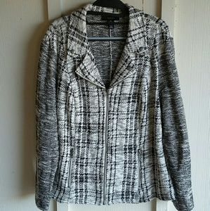 Style & Co Tweed Black and White Sweater Jacket